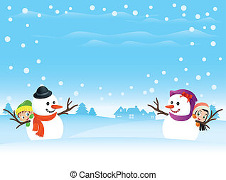 Illustration of a snowman couple with kids hiding behind...