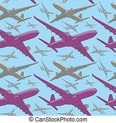 seamless pattern of colored airline - fully editable vector...