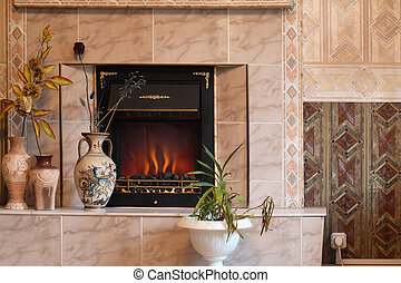 Electric Fire - Home interior with electric fire and vases...
