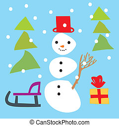 isolated funny snowman and christma