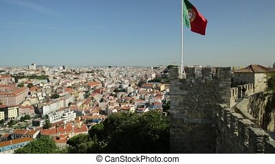 Lisbon Castle Flag - Lisbon aerial view cityscape with...