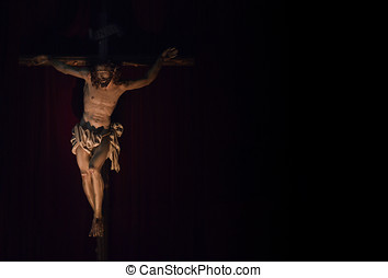 Jesus Christ crucified Catholic symbol Copy Space