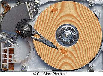 natural hard disc - Detail of the hard disc and busbar -...
