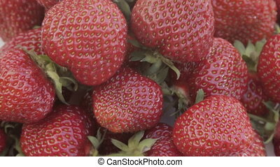 a plate of strawberry close-up - a plate of fresh...
