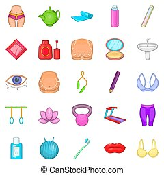 Treadmill icons set, cartoon style - Treadmill icons set....
