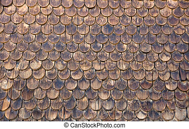 Wall of wooden shingles - A wall of wooden shingles