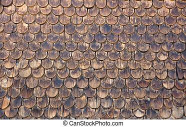 Wall of wooden shingles - A wall of wooden shingles