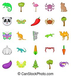 Australian animals icons set, cartoon style - Australian...