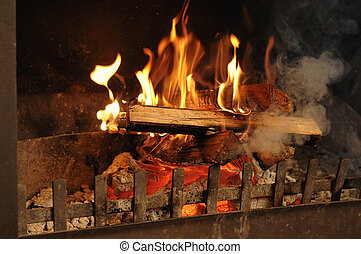 Fire place in winter time