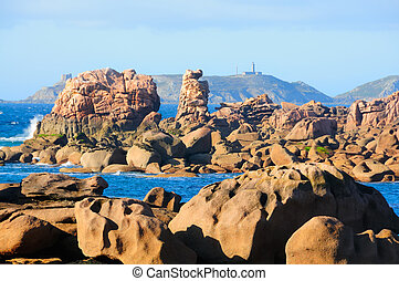 Cote de granite rose - Famous granite rocks at the cote de...