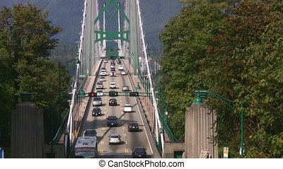 Suspension Bridge Traffic - The Lions Gate Bridge,...