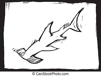 Hammerhead shark swims in the ocean in woodcut style image