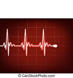 Heart cardiogram with shadow on it deep red EPS 8 vector...