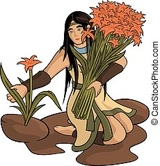 Beautiful woman with bouquet - Vector beautiful girl with...