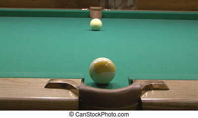 Billiard. - Ninth poll ball falls into the central pocket.