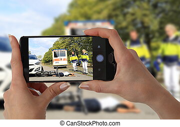 Gawping Onlooker taking picture of an accident - A Gawping...