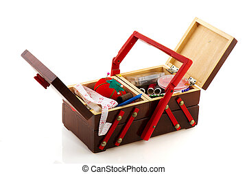 Vintage sewing box - Open vintage sewing box filled with all...