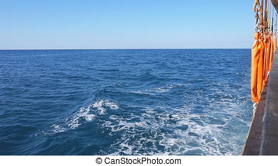 Mediterranean Sea wake behind Cruise ship. Slow motion.