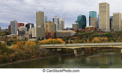 Timelapse of Edmonton City Center in autumn - A Timelapse of...