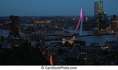 Rotterdam panoramic night view - Rotterdam city center at...