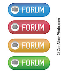 Forum buttons isolated over a white background