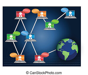 Networking Teamwork - Laptop Networking communication...