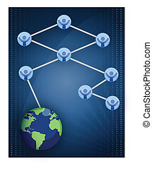 Networking / Teamwork - Networking business graph isolated...