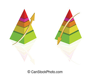 Pyramid Graph - Pyramid Colorful graph templates isolated...