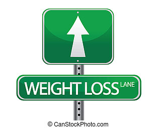 Weight loss green sign isolated over a white background