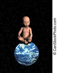 Baby On Top Of The World - Conceptual image about new life...