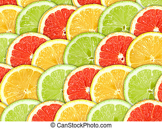 Background with citrus-fruit slices - Abstract three-color...