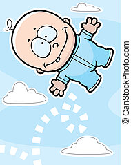 Bouncing Baby - A happy cartoon baby boy bouncing in the...