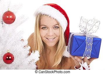 santa woman gift