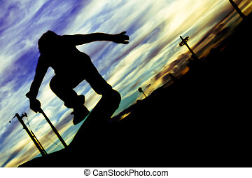 Kickflip silhouette - A silhouette of a skateboarder doing a...