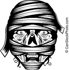Mummy Face - A black and white illustration of a mummy face