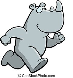 Rhino Running - A happy cartoon rhino running and smiling.