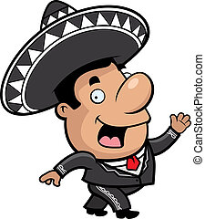 Mariachi Walking - A happy cartoon mariachi walking and...