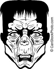 Monster Face - A black and white illustration of a monster...