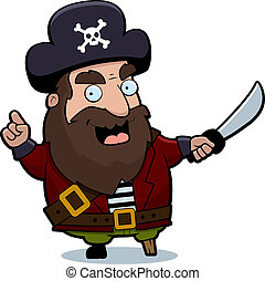 Pirate Captain - A cartoon pirate captain with a sword