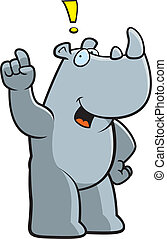 Rhino Idea - A happy cartoon rhino with an idea