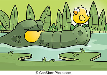 Alligator Swamp - A cartoon alligator in a swamp with a bird...