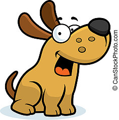 Dog Smiling - A happy cartoon dog sitting and smiling.