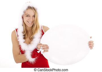 santa woman holding billboard