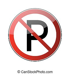 No parking sign. Forbidden red road sign isolated on white...