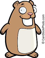 Hamster Smiling - A happy cartoon hamster standing and...