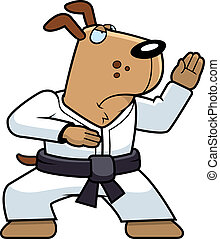 Karate Dog - A cartoon dog doing karate in a gi.