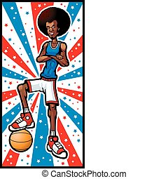 Basketball Player - A smiling cartoon basketball player with...