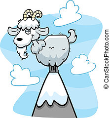 Mountain Goat - A cartoon goat on top of a mountain peak