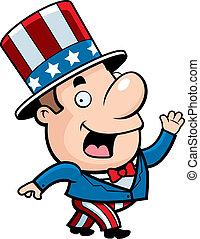 Patriotic Man - A happy cartoon patriotic man waving and...