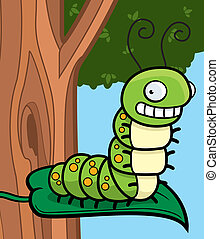 Cartoon Caterpillar - A cartoon caterpillar sitting on a...